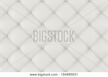 Leather Upholstery Sofa Background. White Luxury Decoration Sofa. Elegant White Leather Texture With Buttons For Pattern and Background. Leather Texture for Graphic Resource. 3D Rendering
