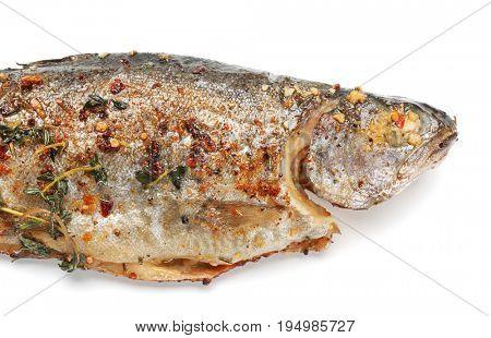 Delicious freshly fried fish on white background