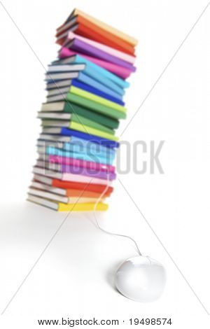 E-learning concept - computer mouse connected to stack of colorful real books on white background, tilted view.