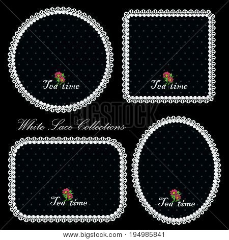 Decoration Object Of Elegant Lace Pattern In Square, Circle And Oval Shape.