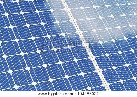 Solar panels isolated om white background. Blue solar panels. Concept alternative energy, 3d illustration