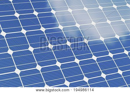 Solar panels isolated om white background. Blue solar panels. Concept alternative energy, 3d illustration