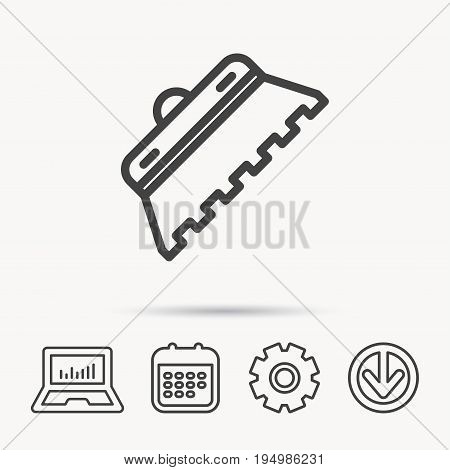 Trowel for tile icon. Spatula repair tool sign. Notebook, Calendar and Cogwheel signs. Download arrow web icon. Vector