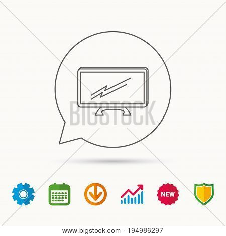 Lcd tv icon. Led monitor sign. Widescreen display symbol. Calendar, Graph chart and Cogwheel signs. Download and Shield web icons. Vector