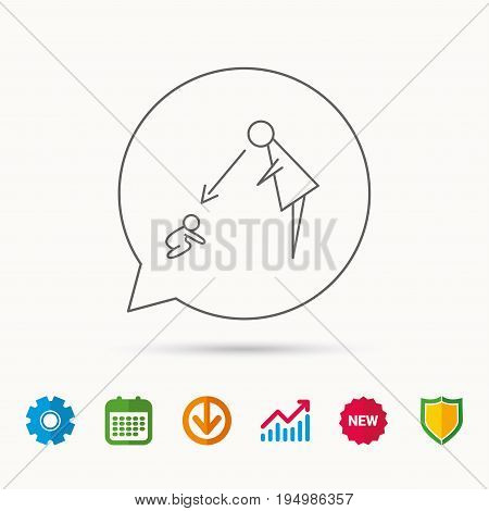 Under nanny supervision icon. Babysitting care sign. Mother watching baby symbol. Calendar, Graph chart and Cogwheel signs. Download and Shield web icons. Vector