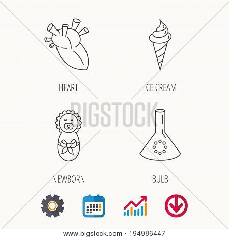 Newborn, heart and lab bulb icons. Ice cream linear sign. Calendar, Graph chart and Cogwheel signs. Download colored web icon. Vector