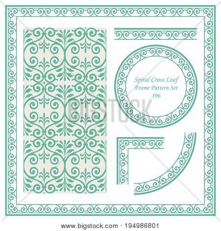 Vintage Border Pattern Of Spiral Curve Cross Leaf