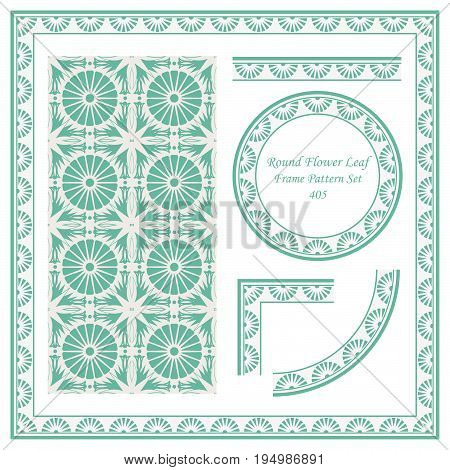 Vintage Border Pattern Of Round Flower Cross Leaf