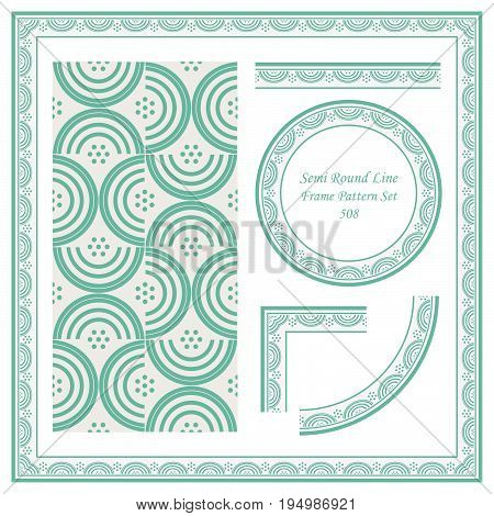 Vintage Border Pattern Of Semi Round Cross Line
