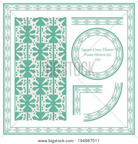 Vintage Border Pattern Of Square Cross Flower Geometry