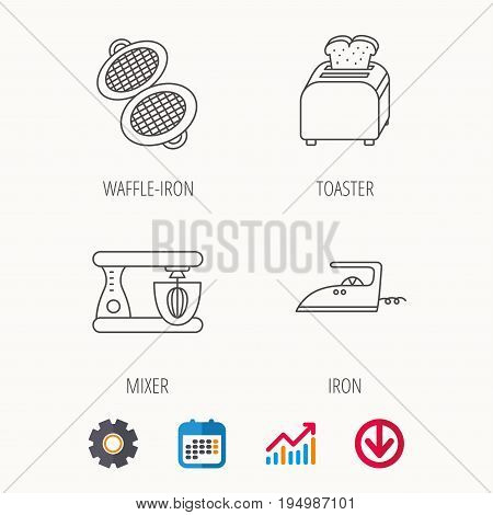 Iron, toaster and blender icons. Waffle-iron linear sign. Calendar, Graph chart and Cogwheel signs. Download colored web icon. Vector