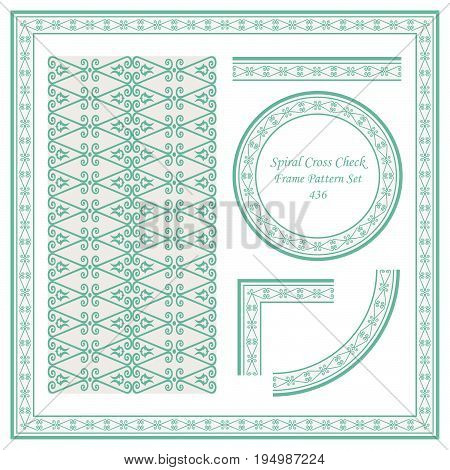 Vintage Border Pattern Of Spiral Cross Check Line