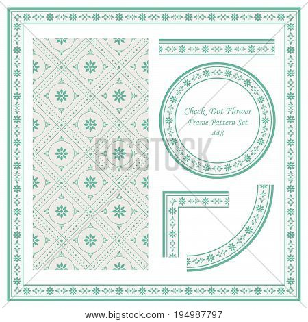 Vintage Border Pattern Of Check  Dot Cross Flower