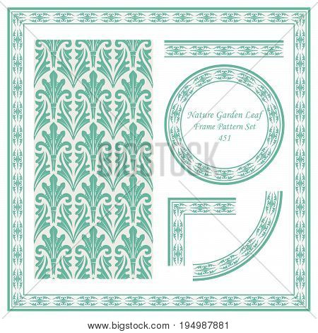 Vintage Border Pattern Of Nature Garden Leaf Cross