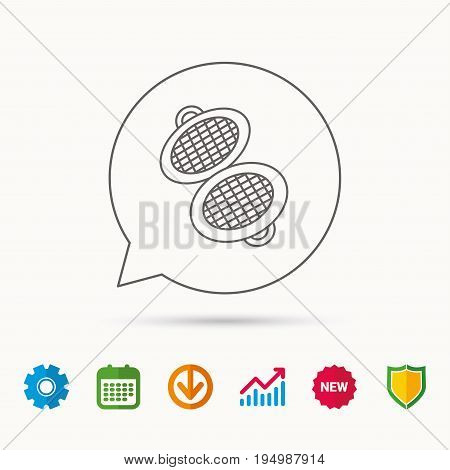 Waffle iron icon. Kitchen baking tool sign. Calendar, Graph chart and Cogwheel signs. Download and Shield web icons. Vector