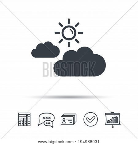 Cloud with sun icon. Sunny weather symbol. Chat speech bubble, chart and presentation signs. Contacts and tick web icons. Vector