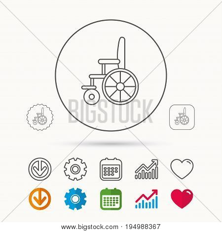 Wheelchair icon. Disabled traffic sign. Calendar, Graph chart and Cogwheel signs. Download and Heart love linear web icons. Vector