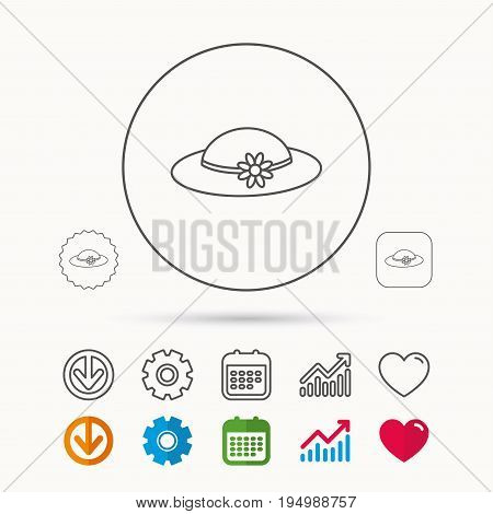 Female hat with flower icon. Women headdress sign. Calendar, Graph chart and Cogwheel signs. Download and Heart love linear web icons. Vector