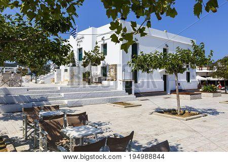 SKYROS, GREECE - JUNE 17, 2017: Main square in Chora village on Skyros island, Greece on June 17, 2017.