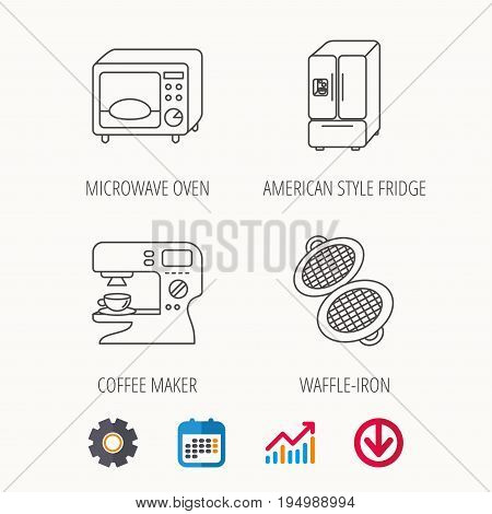 Microwave oven, waffle-iron and American style fridge icons. Coffee maker linear sign. Calendar, Graph chart and Cogwheel signs. Download colored web icon. Vector