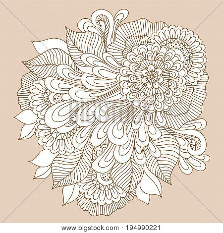 Beautiful doodle art floral composition. Henna tattoo flower template. Doodle floral drawing. Zentangle floral ornament. poster