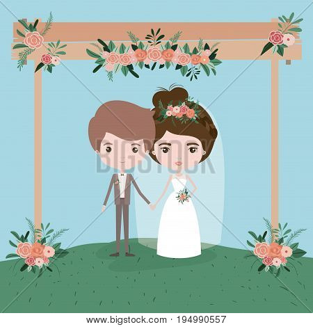sky landscape scene background in grass with couple of just married under decorative frame in wooden poles with floral ornaments vector illustration