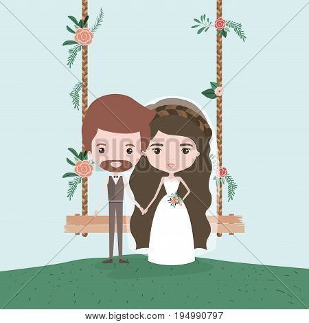 sky landscape scene background in grass with couple of just married in decorative swing in wooden poles with floral ornaments vector illustration