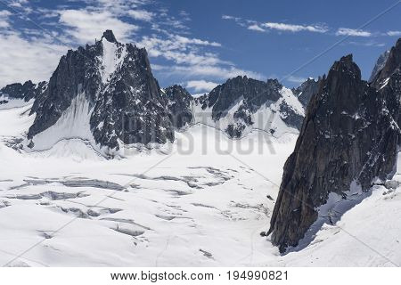 The beautiful majestic scenery of the Mont Blanc massif. French Alps.
