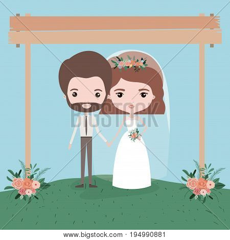 sky landscape scene background with couple of just married under decorative frame in wooden poles and floral ornaments in grass vector illustration
