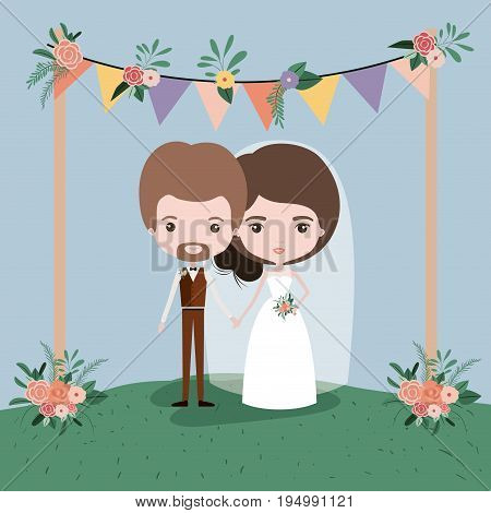 colorful scene with flags decorative and grass with floral ornaments in wooden poles with couple of just married under vector illustration