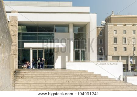 Rome Italy march 25 2017: Exterior view of the Ara Pacis Augustae museum in Rome. Designed by Richard Meyer