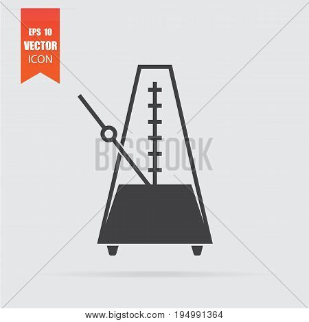 Metronome Icon In Flat Style Isolated On Grey Background.