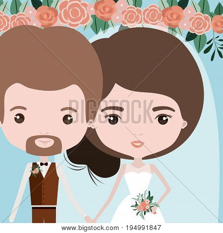 color background with half body couple of just married man bearded and woman with collected hair vector illustration