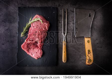 Rump Steak. Beef Raw Steak. Beef Raw Steak With Salt Pepper Rosemary Butcher And Fork