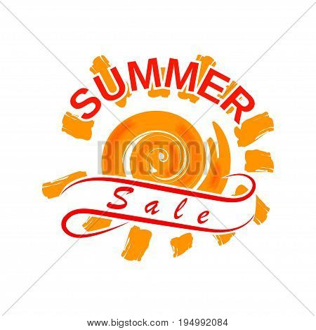Summer sale design with hot sun and stylized ribbon. Template for advertising of summer sale. Isolated on white background. Vector illustration.