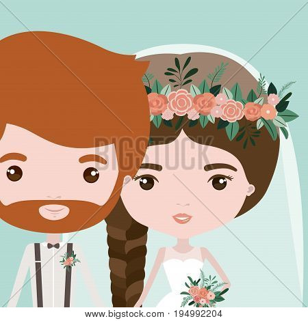 color background with half body couple of just married bearded man and woman with braid hair vector illustration