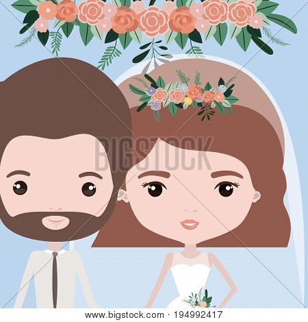 color background with half body couple of just married bearded man and woman with short wavy hair vector illustration