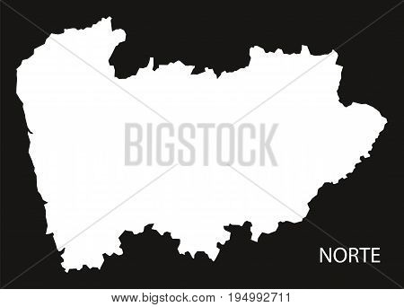 Norte Portugal Map Black Inverted Silhouette Illustration Shape