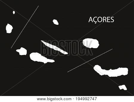 Acores Portugal Map Black Inverted Silhouette Illustration Shape