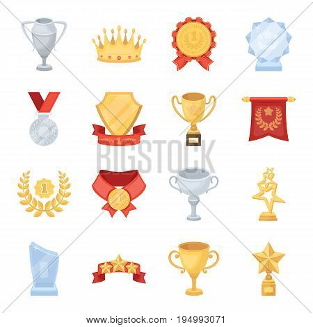Cup, medal, pennant, and other elements. Awards and Trophies set collection icons in cartoon style vector symbol stock illustration .