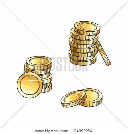 Two stacks of shiny gold coins, tall and short, money symbol, sketch vector illustration isolated on white background. Realistic hand drawing of golden coins, money symbol, sign, element