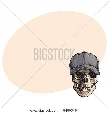 Hand drawn human skull wearing grey colored unlabelled baseball cap, sketch vector illustration with space for text. Realistic hand drawing of skull wearing baseball cap