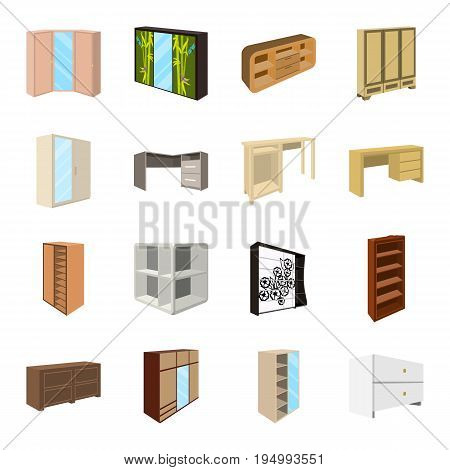 Wardrobe, mirror, wood and other icons of interior. Interior set collection icons in cartoon style vector symbol stock illustration.