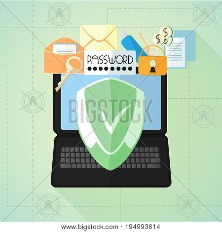 Data protection. Antivirus. Internet security. Laptop, mail, passwords, keys, flash card under the shield in a flat style