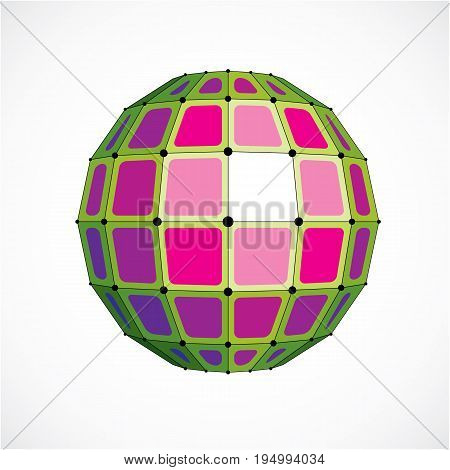 Vector dimensional wireframe low poly object spherical green facet shape with black grid. Technology 3d mesh element made using squares for use as design form in engineering.