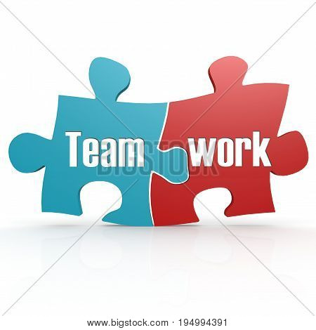 Blue And Red With Teamwork  Puzzle
