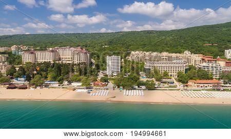 Aerial view of the beach and hotels in Golden Sands Zlatni Piasaci. Popular summer resort near Varna Bulgaria