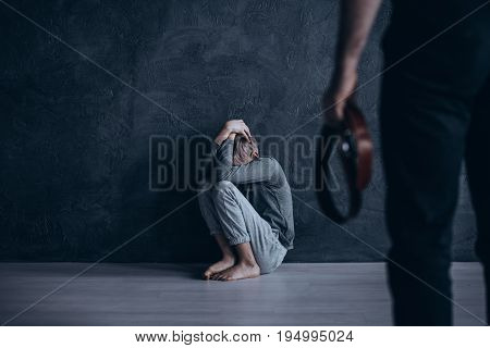 Heartbreaking conceptual photo of son beaten by his own father