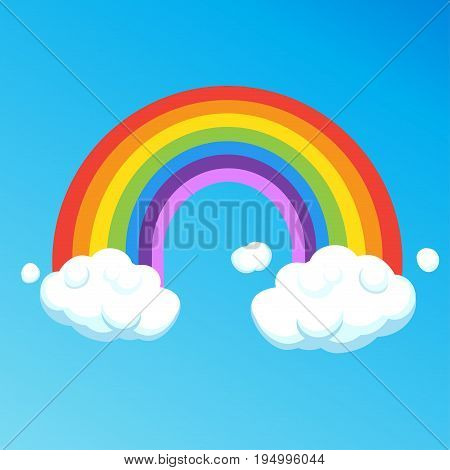 Rainbow with clouds isolated on blue sky background. Colorful Rainbow and cloud cartoon vector illustration. Sticker, label, icon for print, brochure, banner, card graphic design Template Ultraviolet