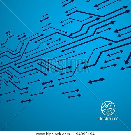 Futuristic cybernetic scheme vector motherboard illustration. Digital element circuit board. Technology innovation abstract background with arrows.